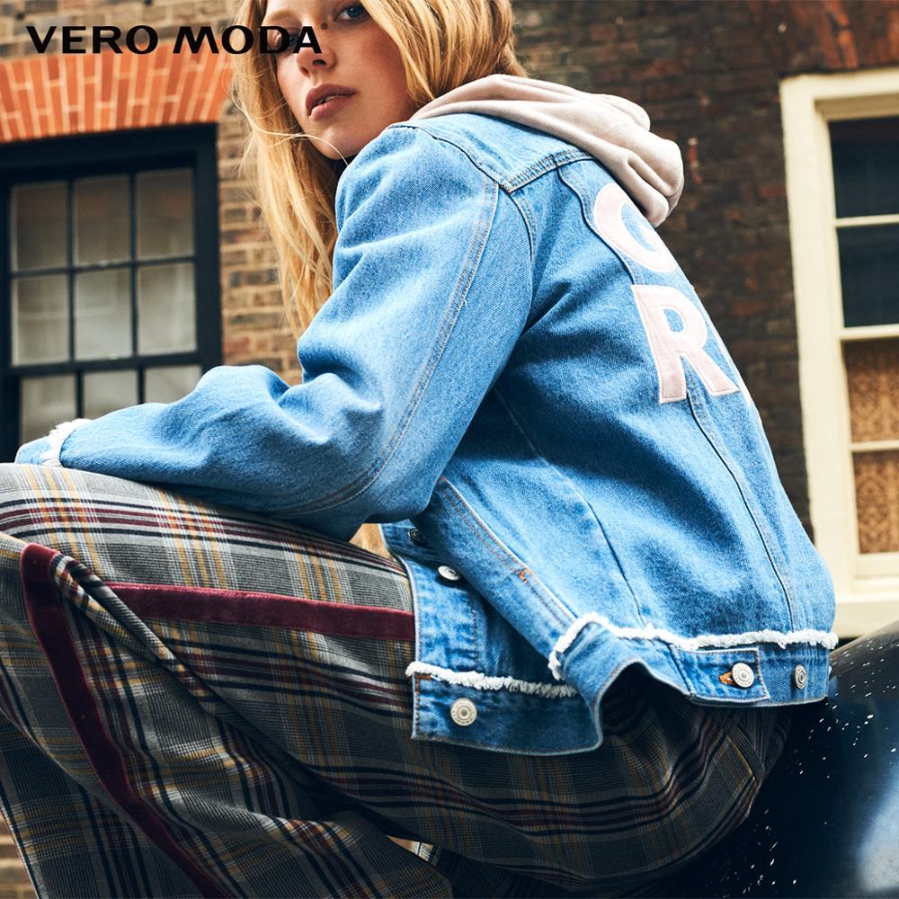 Denim Jacket Vero Moda Print Women's Letter Cuffs Flared Raw-Edge 318357501 New-Arrivals