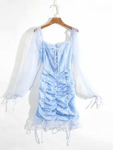 Image 5 - Vintage bandaż plisowana siateczka sukienka kobiety wzburzyć czarny bodycon kobiety sukienka bufiaste rękawy mujer verano 2019 jesień nowości