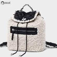 цена на 2019 new Genuine Leather bag women Lampwool backpacks elegant soft school bag  white travel tote bags high quality Backpack New