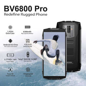 "Blackview Original BV6800 Pro 4GB+64GB 5.7"" Waterproof Smartphone 18:9 Screen 6580mAh Android 8.0 Wireless Charging Mobile Phone"