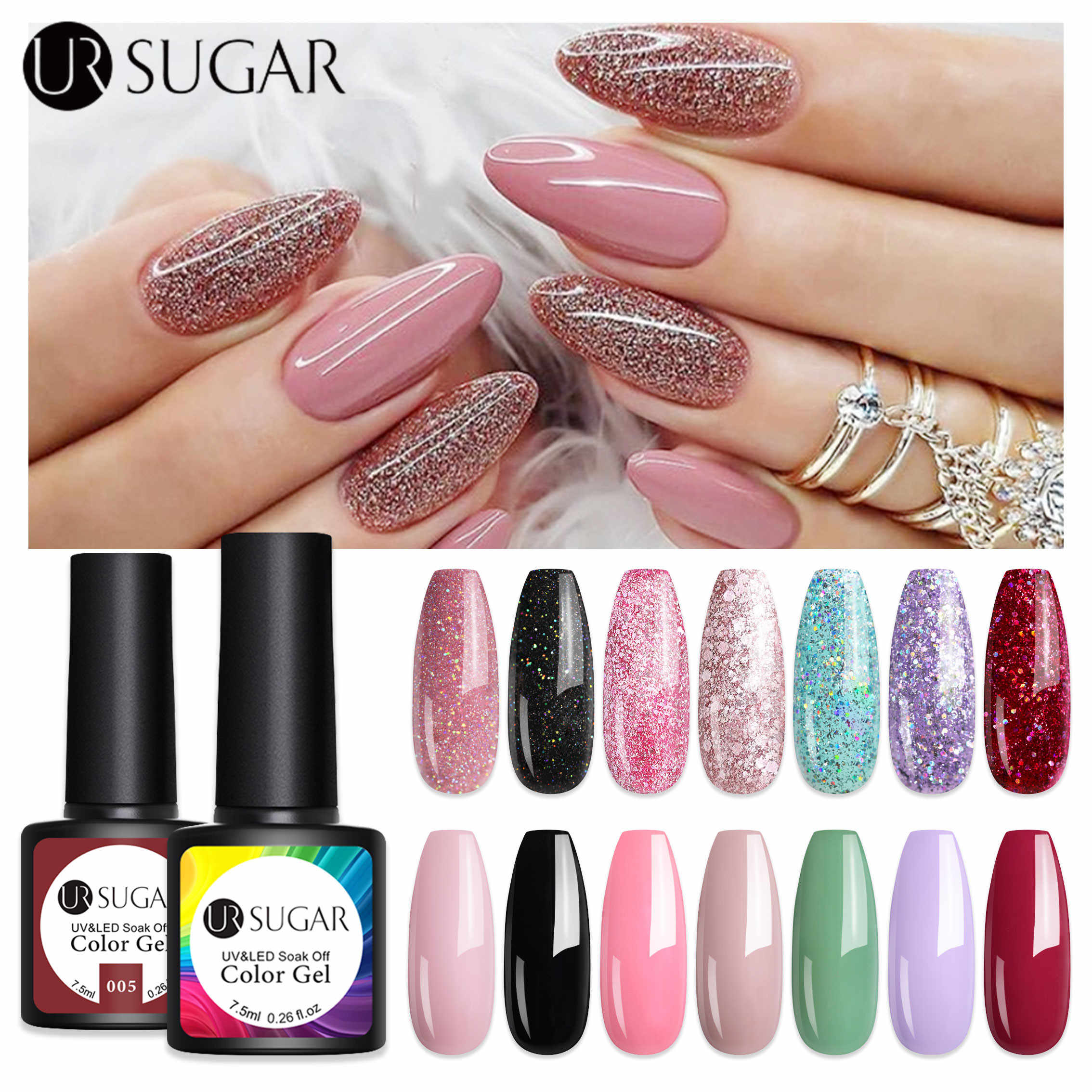 UR GULA 2 Pcs/set Glitter Gel Cat Kuku Rose Emas Ungu Payet Laser Uv Gel Varnish Rendam Off UV LED gel Varnish