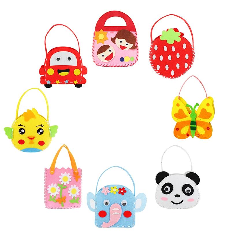 Non-Woven Fabric DIY Handbag Children Craft Toy Mini Bag Non-woven Cloth Colorful Handmade Bag Cartoon Animal Children Handbags