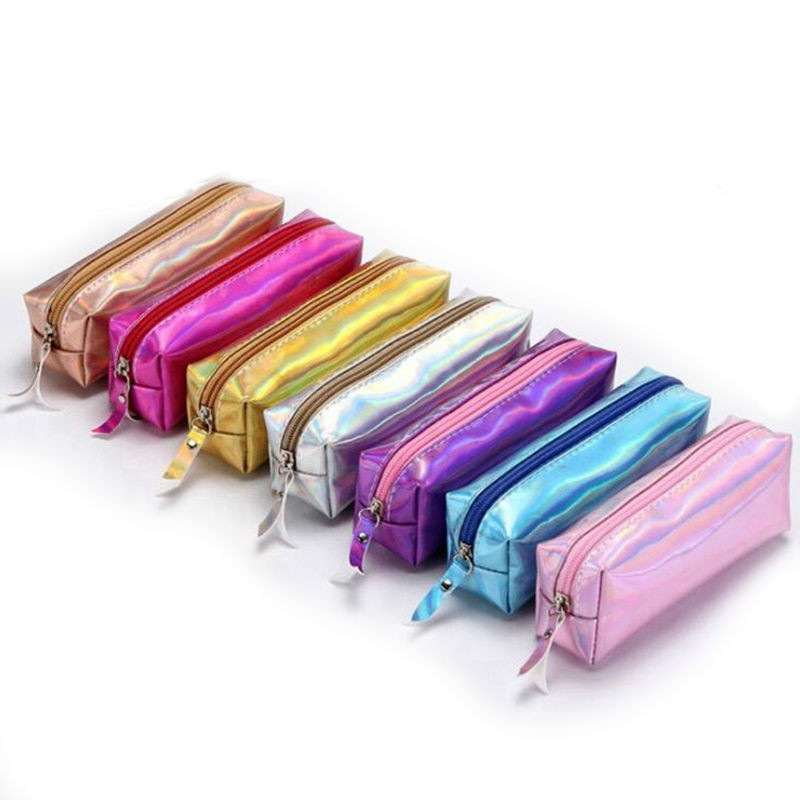 Lridescent Laser Holographic Pencil Case For Girls Boys Cute Pencil Box Quality PU Pencil Bag Tools School Supplies Stationery