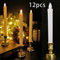 12Pcs Long Candles Electronic LED Flame Candle Lights Party Dinner Decoration