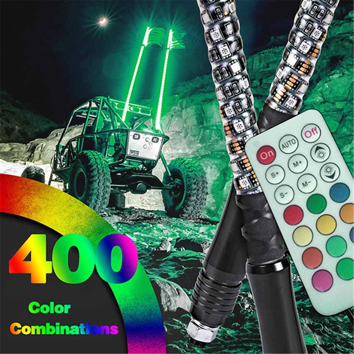 3/4/5FT LED Whip Light RGB Waterproof Bendable Remote Control Multi-color Super Bright Flagpole Lamp Light For SUV ATV UTV RZR