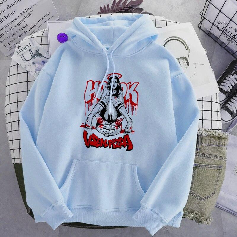 Punk style women's hoodie skull long sleeve casual top goth skeleton dark black 2021 loose ulzzang fashion women's sweatshirt 7
