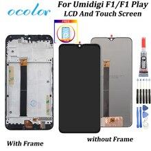 Ocolor para umidigi f1 jogar display lcd e tela de toque com quadro digitador assembléia com ferramentas para umidigi f1 lcd com filme