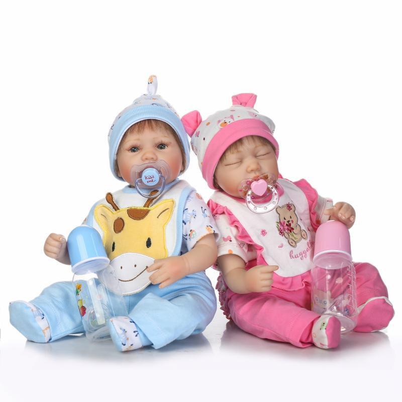 40CM Silicone Full Body Reborn Baby Dolls Twins Boy and Girl 16 inch Lifelike Sleeping Baby Girl Toddler Toy Christamas Gift