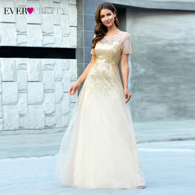 Sparkle Gold Prom Dresses Ever Pretty Sequined A-Line O-Neck Short Sleeve Tulle Elegant Fomal Party Gowns Robes Longues 2020