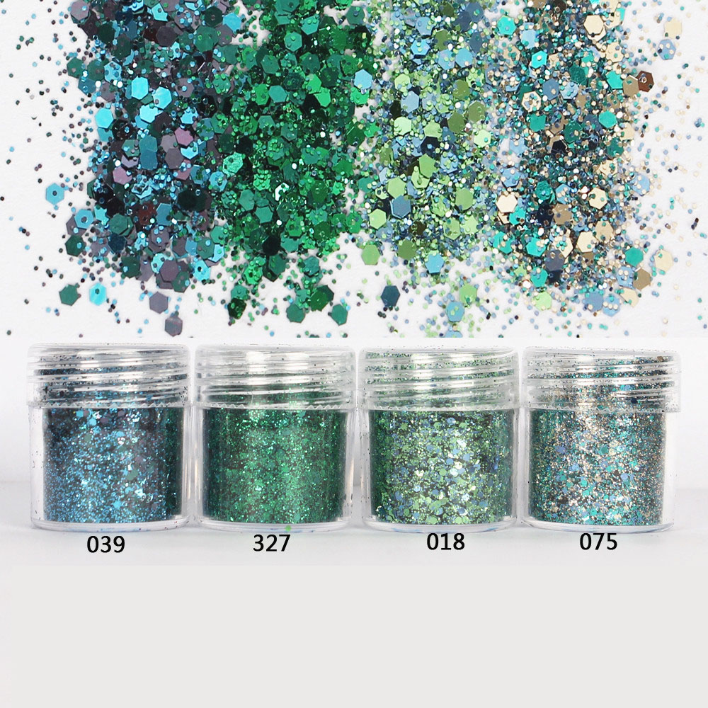 Green Set Hexagon Glitter Sequin Mix In Christmas Theme Embellishment For Resin Crafts Festive Jewelry Tools Uv Resin Pigment