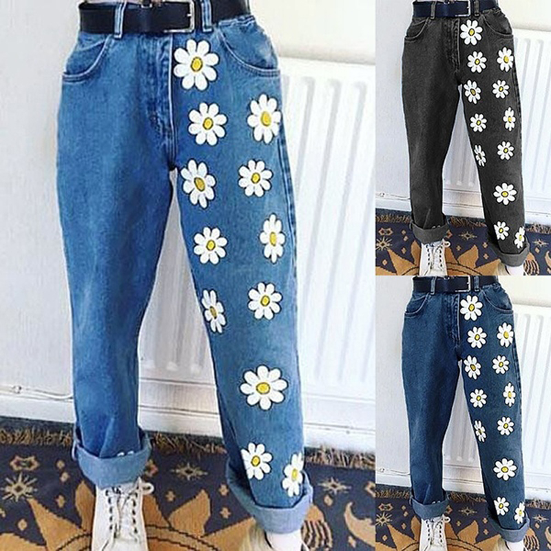 Plus Size Denim Jeans For Women High Waist Fashion Printing Slim Straight Jean Pants Full Length Trousers