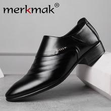 Merkmak 2020 new business men Oxfords shoes set of feet Blac