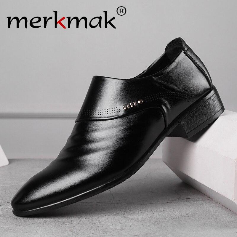Merkmak 2020 nuevos zapatos oxfords para hombres de negocios set de pies negro marrón hombre Oficina boda zapatos de cuero para hombres