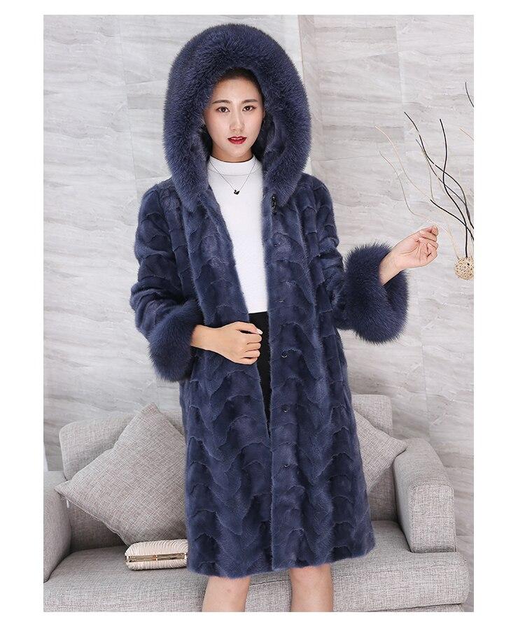Coat Mink Real Female Luxury Natural Fur Coats Winter Jacket Women Fox Fur Collar Warm Long Jackets Manteau Femme MY4166 S S