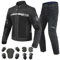 SSPEC Black Blue Motorcycle Jacket Pants Men's Motocross Jacket Breathable Denim Mesh Racing Riding Jacket With Protection Gear