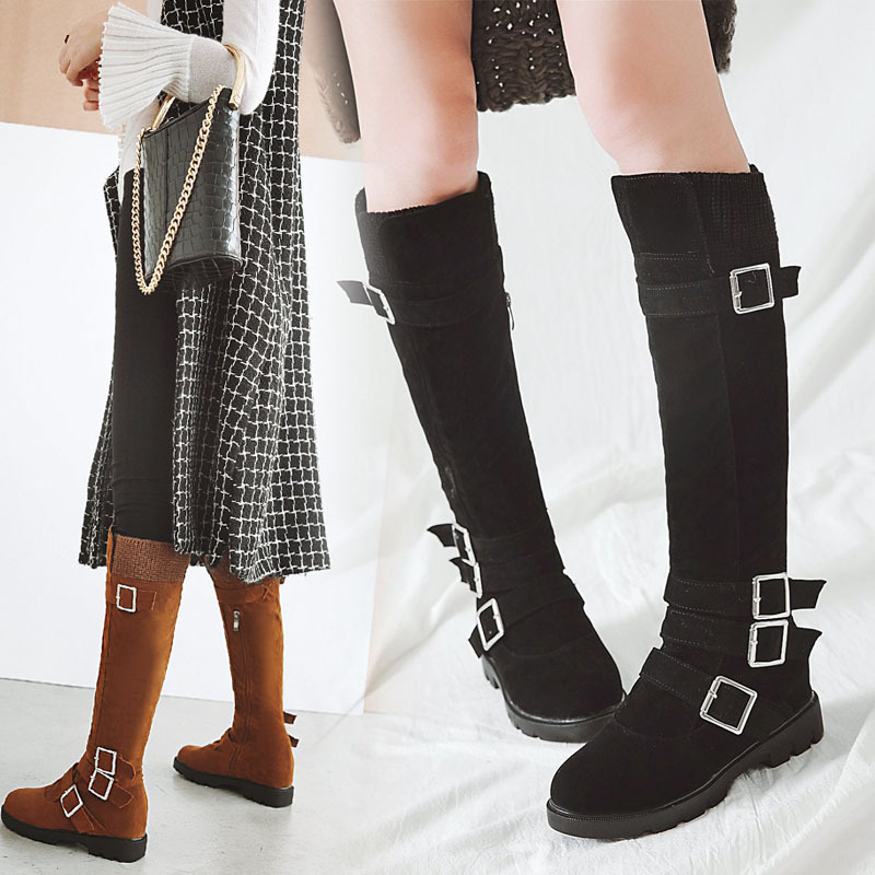 Concise Nubuck PU Knee-High Boots Leisure Side Zipper Women Shoes Fashion Buckle Strap High Heels Buty Damskie Jesienne Botki