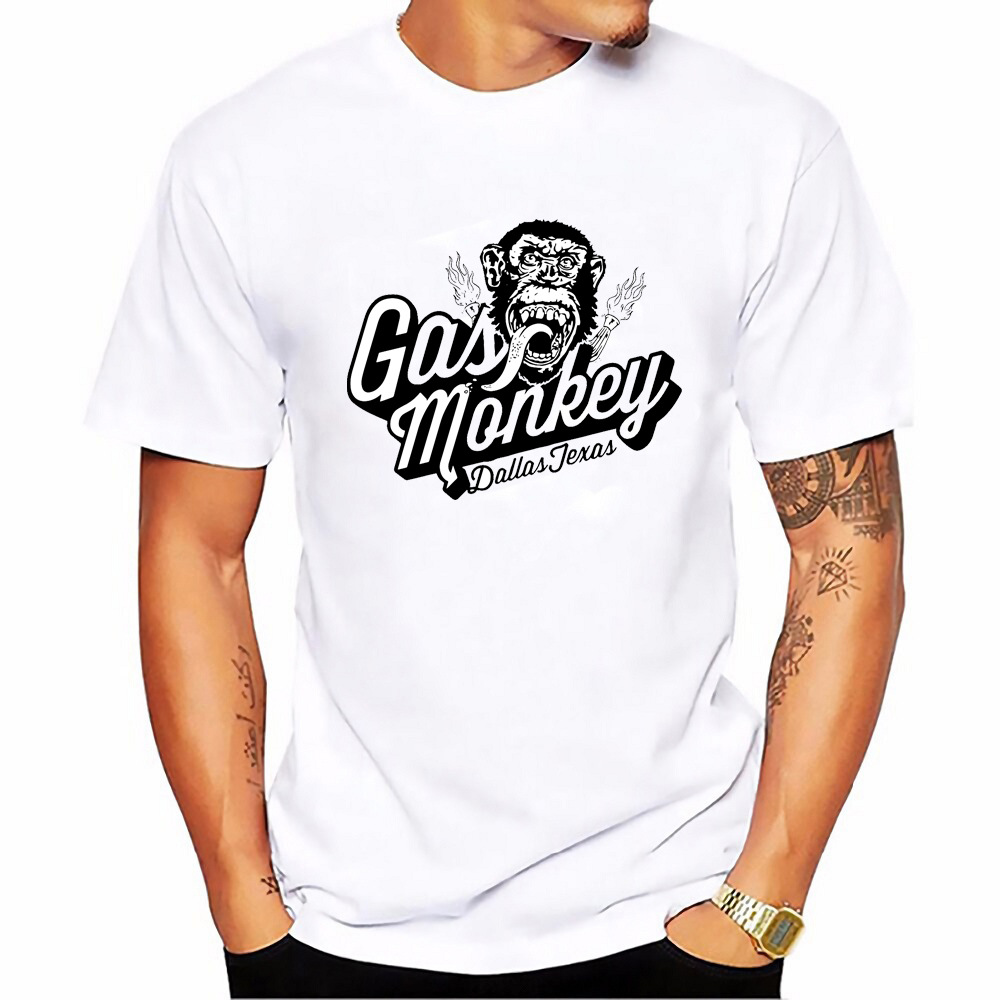 Fashion Crew Neck MEN'S T-shirt Wish Amazon Hot Sales Gas Monkey Garage Logo Digital Printing