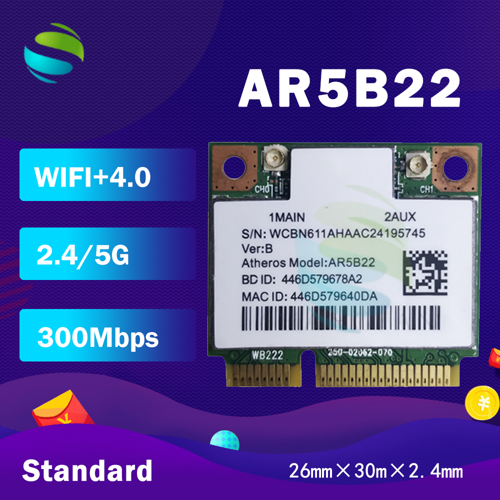 Atheros AzureWave AR9462 AR5B22 WB222 Half Mini PCIe 300Mbps+Bluetooth4.0 WLAN Wifi Wireless Card(China)