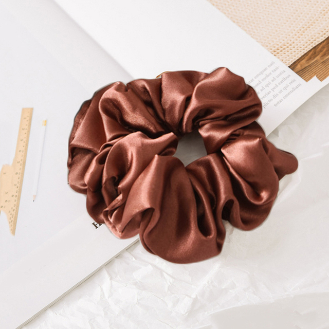 1 Pcs Satin Silk Solid Color Hair Ties Scrunchie Elastic Hair Bands Women Luxury Soft Hair Accessories Ponytail Holder Hair Rope 4