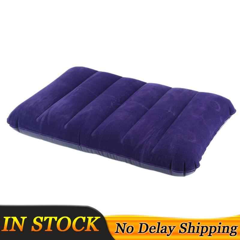 LARGE 47x30CM Inflatable Flocked Pillow Camping Sleeping Soft Travel Blow Up NEW