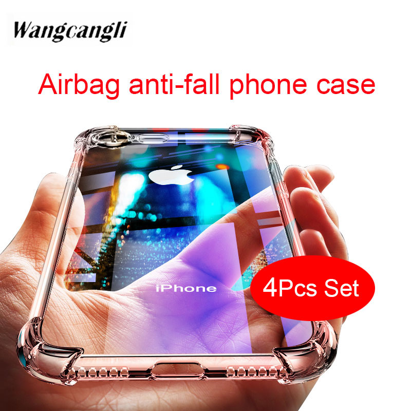 4pcs set Fashion Shockproof <font><b>Bumper</b></font> Transparent Silicone Phone <font><b>Case</b></font> For iPhone7 8 6S Plus Clear protection Back Cover For <font><b>iPhone6</b></font> image