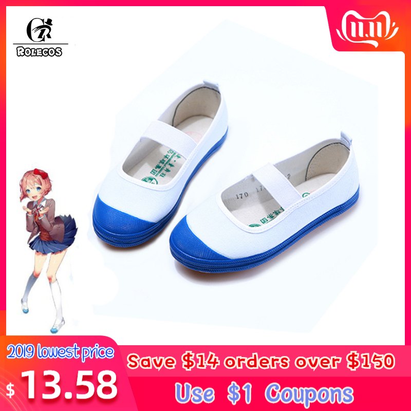 ROLECOS Game Doki Doki Literature Club Cosplay Shoes Sayori Cosplay Yuri Natskuki Cosplay Sports Shoes For Women Cosplay Shoes