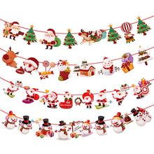 Merry Christmas Banner Decor Hanging Flag Santa Snowman Elk Deer Xmas Party Home Ornaments