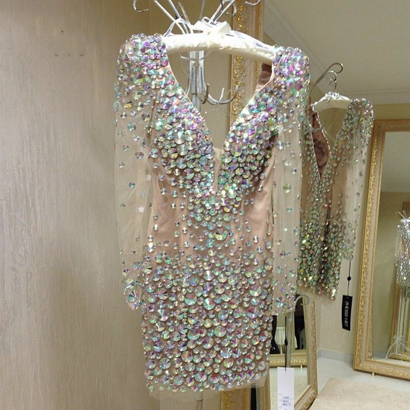 Sexy Short Prom Dress With Long Sleeves Crystal Beads V Neck Mini Cocktail Dresses Graduation Party Dress Robe De Soiree 2020