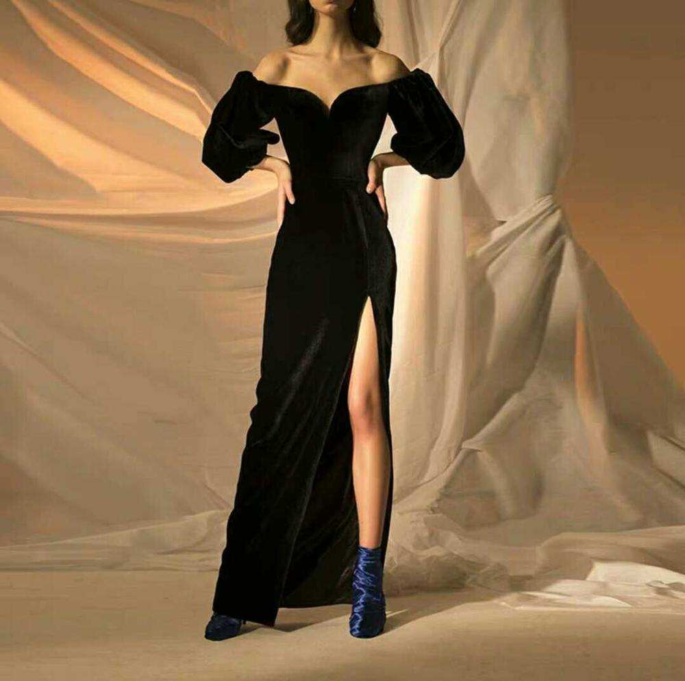 Sexy Party Dress WOmen Slash Neck Strapless Puff Sleeve long Split Slit Black Velvet Dress Night CLub Dress image