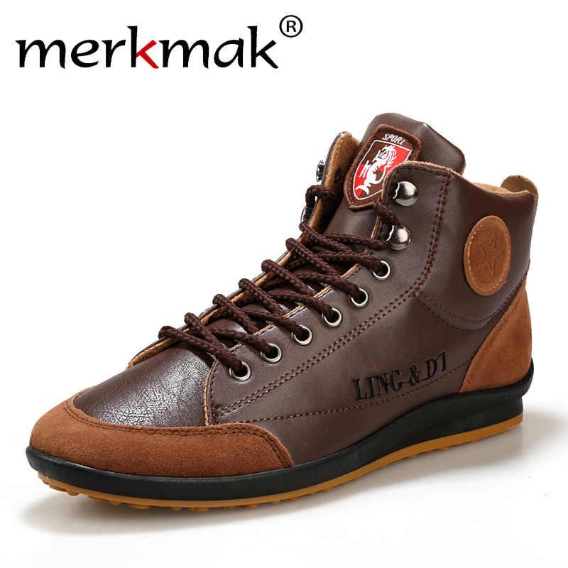 Neue 2020 Männer Leder Stiefel Mode Herbst Winter Warme Baumwolle Marke Stiefeletten Lace Up Männer Schuhe Schuhe Lässig Drop verschiffen