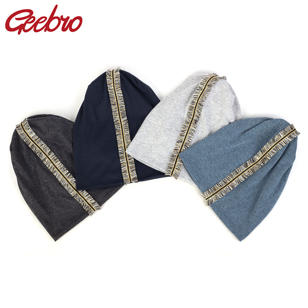 Geebro New Soft Women Colorful Tassel Ribbon Cotton Beanies Hat Solid Color Baggy Slouch Hats And Cap Lady Birthdays Gifts