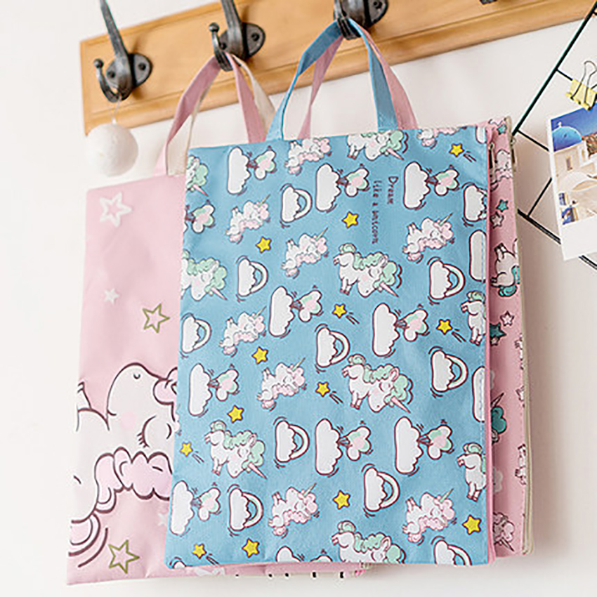 Cute A4 Paper Storage Bag File Folder Document Holder Zipper Handbag Student Cartoon Stationery School Office Supplies