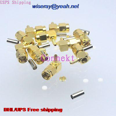 DHL/EMS 500pcs Connector RPSMA Male Jack Crimp RG174 RG316 LMR100 Cable Right Angle-A3