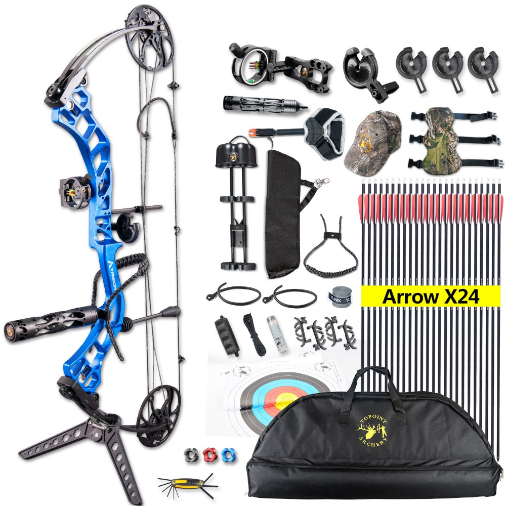 1set Topoint Archery Trigon Compound Bow Full Package CNC Material 19-30inch Draw Length For Hunting Shooting Right Hand Bow