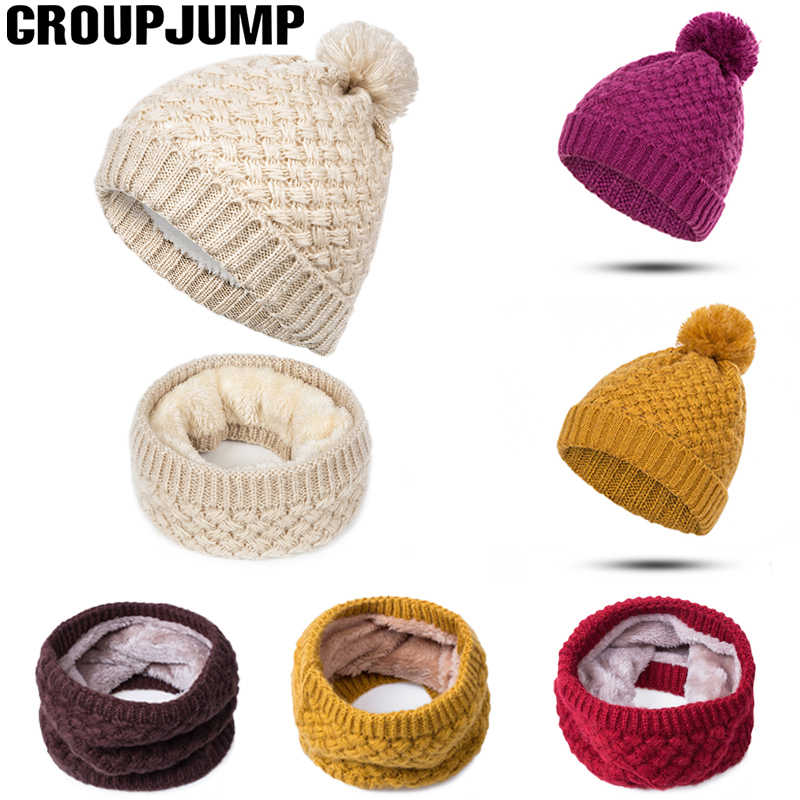 New Brand Winter Scarf Poms Hat For Women Knitted Scarves Men Cotton Ring Scarf Boys Girls Winter Neck Wear Dropshipping