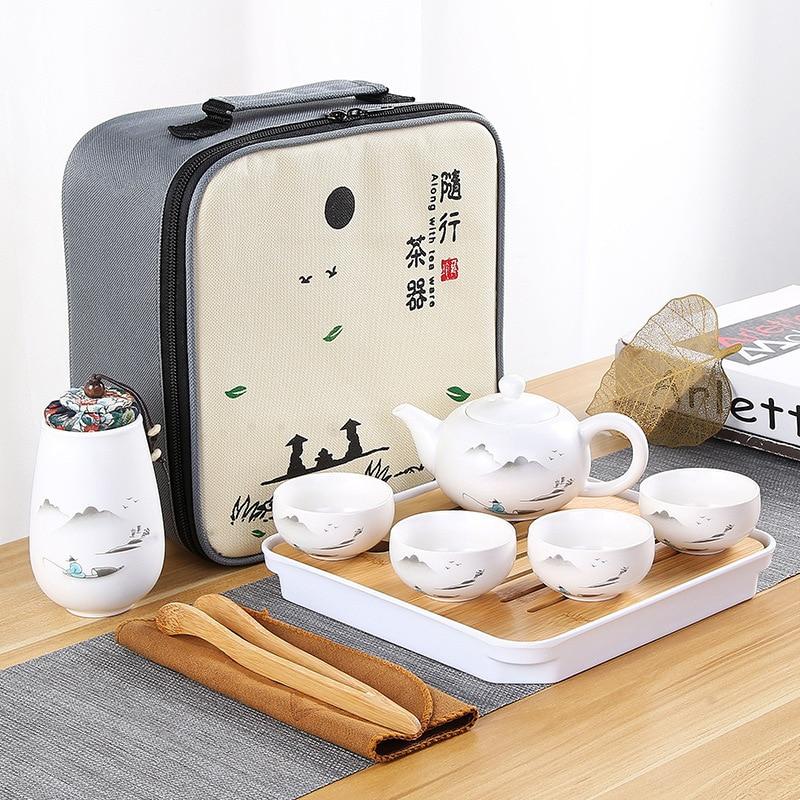 סיני סגנון נסיעות תה להגדיר 1 סיר/4 כוסות קרמיקה קומקום כוס תה יכול מתנת תה סט סין Teaware סטים