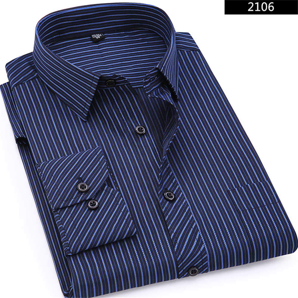 Plus Large Size 8XL 7XL 6XL 5XL 4XL Mens Business Shirt Casual Long Sleeved Classic Striped Male Social Dress Shirts Purple Blue