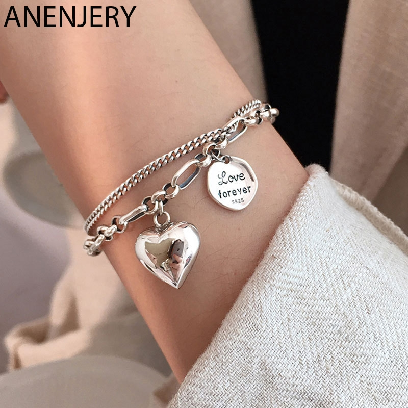 ANENJERY sıcak 925 ayar gümüş mektubu aşk kalp ağır zincir bilezik kadınlar için INS gülümseme marka takı S-B461
