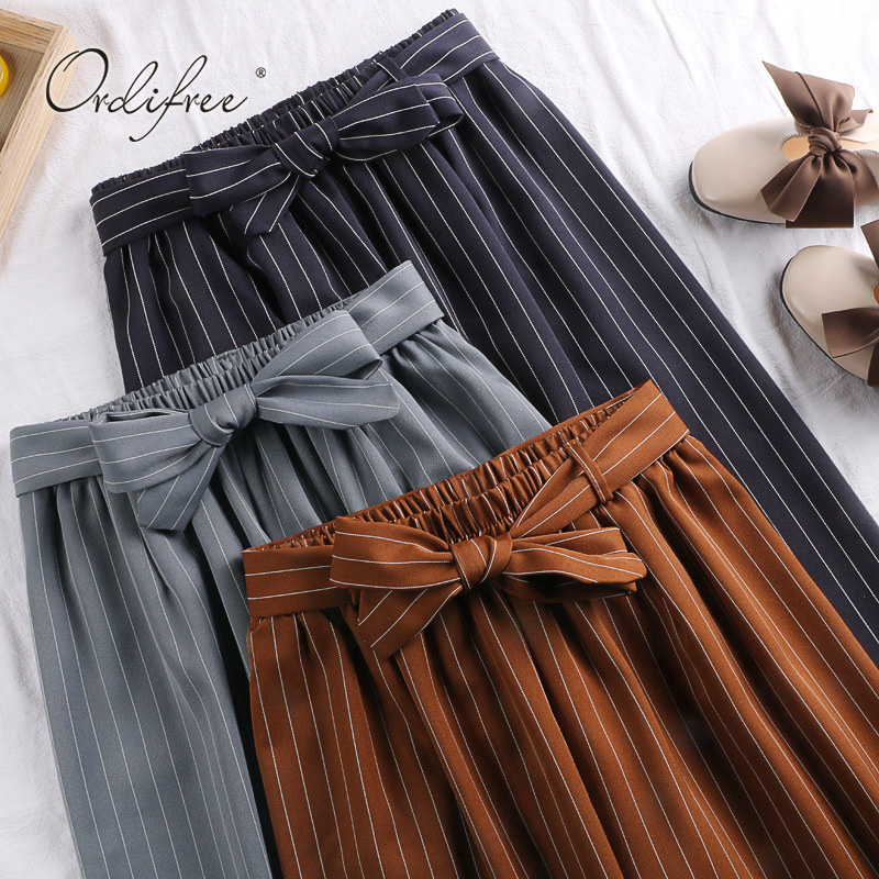 Ordifree 2019 High Waist Women   Wide     Leg     Pants   Casual Loose Trousers Bow Belt Striped Palazzo   Pants