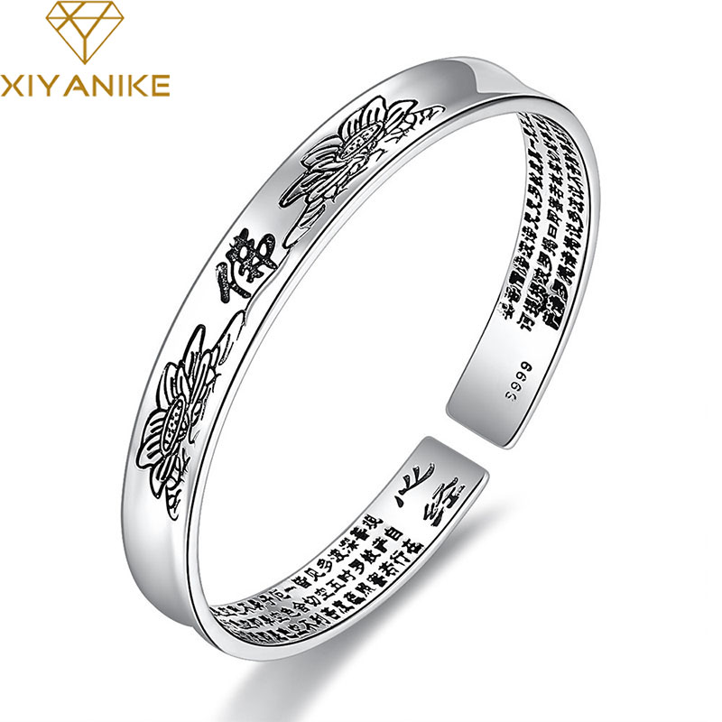 XIYANIKE Newly Arrived 925 Sterling Silver Sutra Cuff Bracelet for Women Religious Accessorie Fashion Simple Thai Silver Jewelry