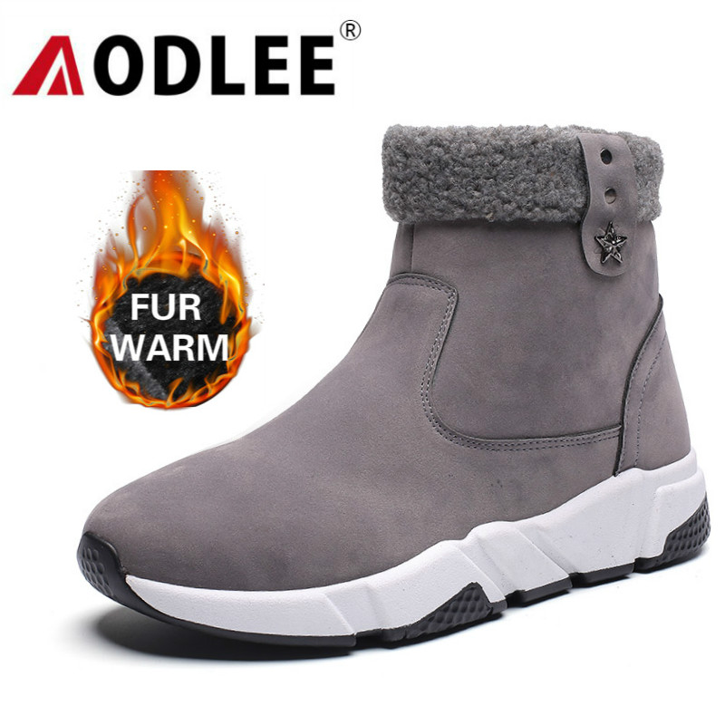Boots Men Winter Leather Ankle Snow Men Boots Shoes With Fur Plush Warm Male Casual Boot Sneakers For Men Shoes Botas Hombre