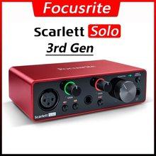 Focusrite scarlett solo 3rd geração amplificador de fone de ouvido placa de som 24-bit/192khz ad-conversores