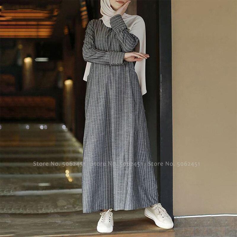 Arabic Abaya Kaftan Islamic Ramada Prayer Women Gown Dubai Turkey Striped Casual Retro Fashion Linen Robe Dress Muslim Clothing Women Women's Abaya Women's Clothings