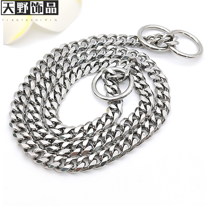 Pet Stainless Steel P Pendant Dog Rope Hand Holding Rope Golden Retriever 304 Neck Ring Collar Snake Chain Large Dog Pet Dog Pen