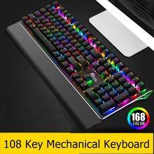 Yeni 108 anahtar RK yan RK108/RK G87 ergonomik arkadan aydınlatmalı USB kablolu mekanik klavye dizüstü masaüstü klavye RGB/karışık işık