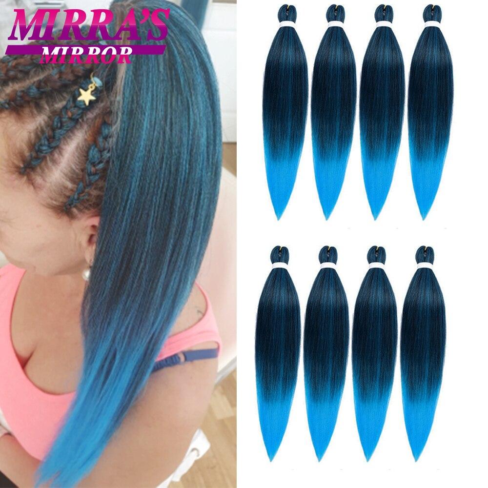 Зеркальные предварительно растягивающиеся плетеные волосы Mirra's, Омбре, плетеные удлинители волос Yaki, крючком, синтетические волосы 2 тона 26 ...