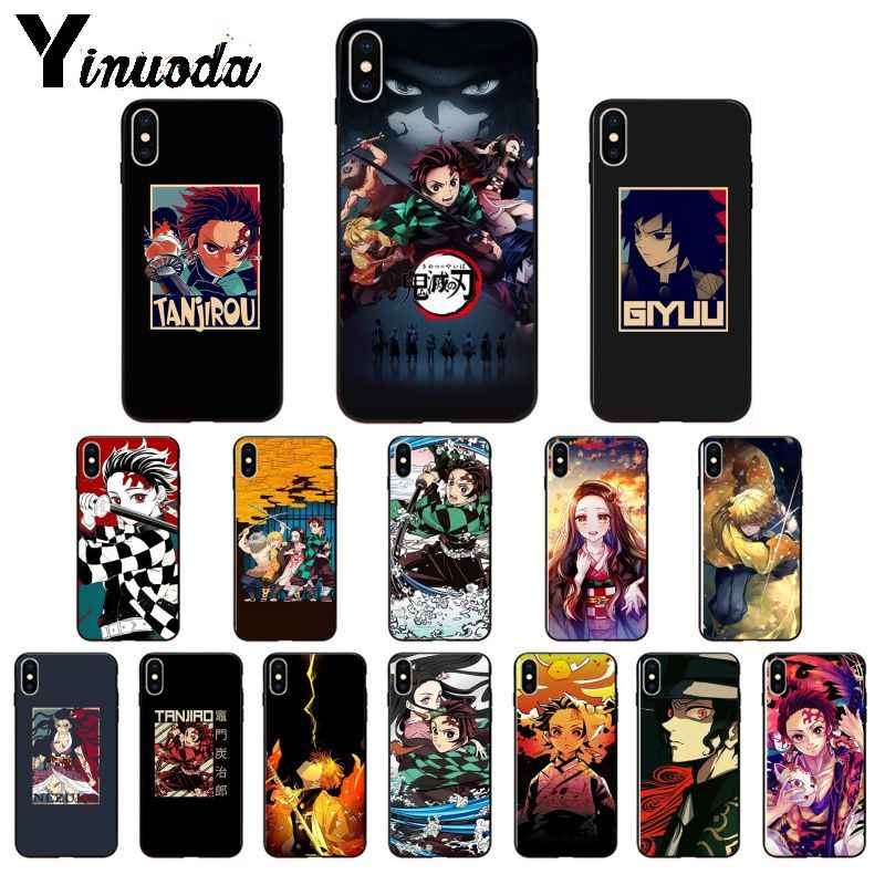 Yinuoda Anime Demônio Assassino Kimetsu não Yaiba TPU Soft black Caixa Do Telefone para o iPhone Da Apple 8 7 6 6S mais X XS MAX 5 5S SE XR Tampa