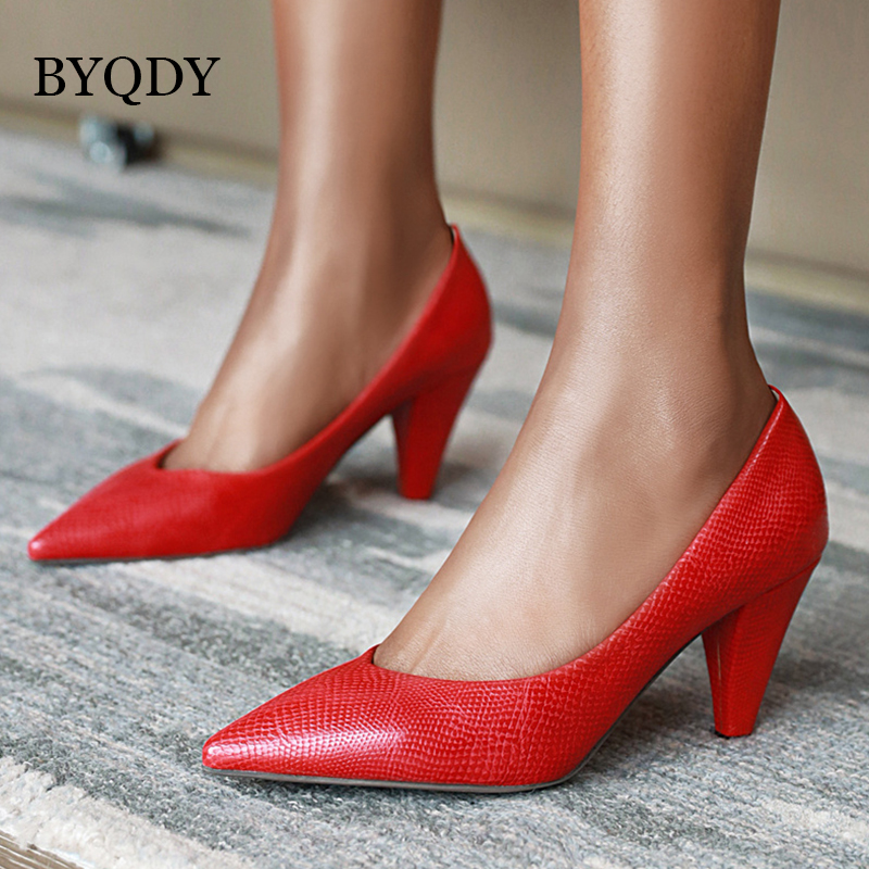 BYQDY Plus Size 42 43 Spring Autumn Woman Pumps PU Outside Spike High Heels Pointed Toe Party Wedding Bride Shoes Animal Print