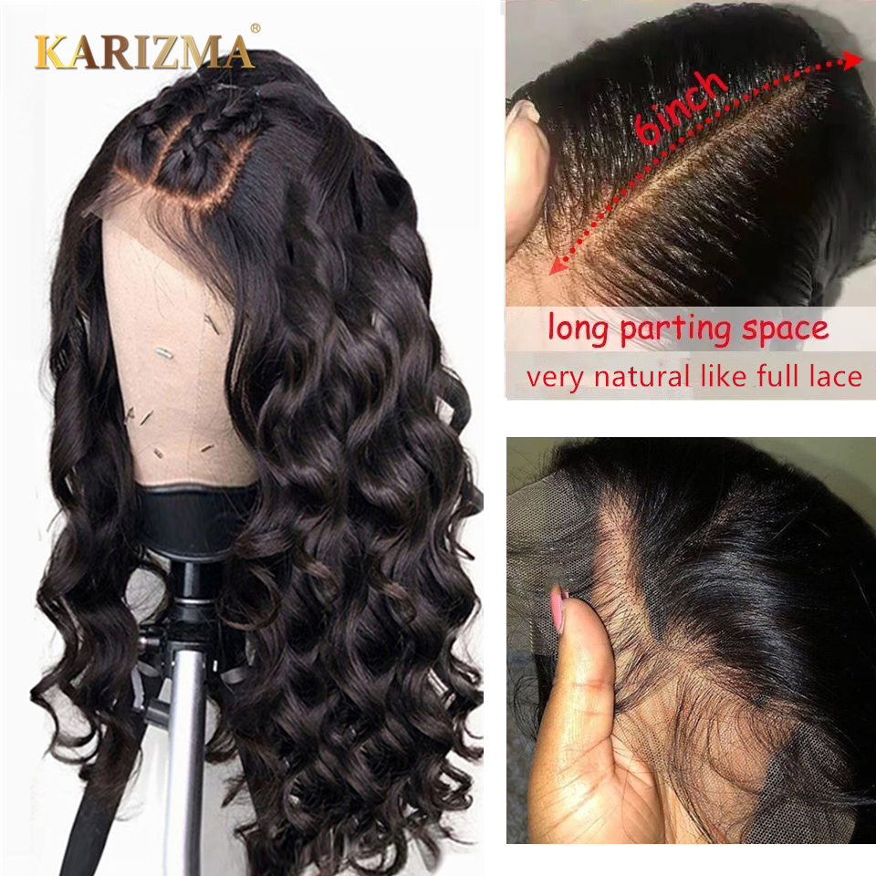 Brazilian Loose Wave Lace Front Human Hair Wigs 13x6 Swiss Lace Front Wigs Remy Hair Wigs For Black Women 150% Density Karizma