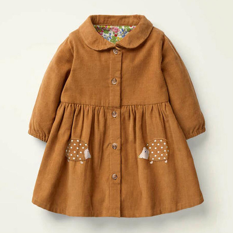 Little Maven Brand Autumn Baby Girls Clothes Cotton Hedgehog Applique Shirtdress Toddler Christmas Dresses for Kids 2-7 Years 1
